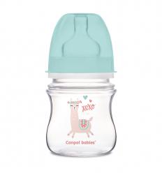 Canpol babies Dojčenská antikoliková fľaša široká EasyStart 120 ml 0m+ Exotic Animals zelená