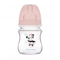 Canpol babies Dojčenská antikoliková fľaša široká EasyStart 120 ml 0m+ Exotic Animals ružová