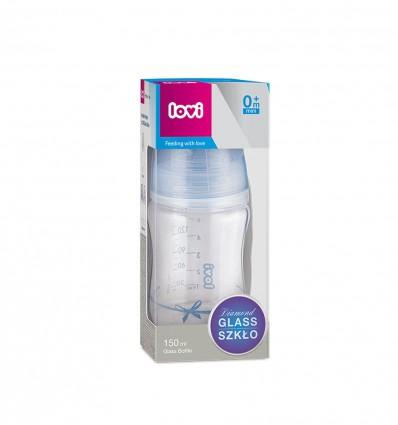 Lovi Dojčenská fľaša sklo Diamond Glass 150ml 0m+Baby Shower boy
