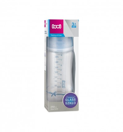 Lovi Dojčenská fľaša sklo Diamond Glass 250ml 3m+ Baby Shower boy