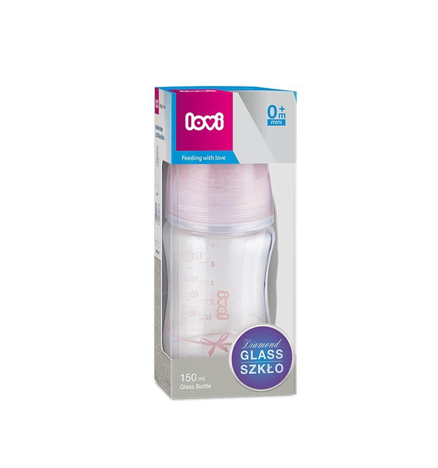 Lovi Dojčenská fľaša sklo Diamond Glass 150ml 0m+Baby Shower girl