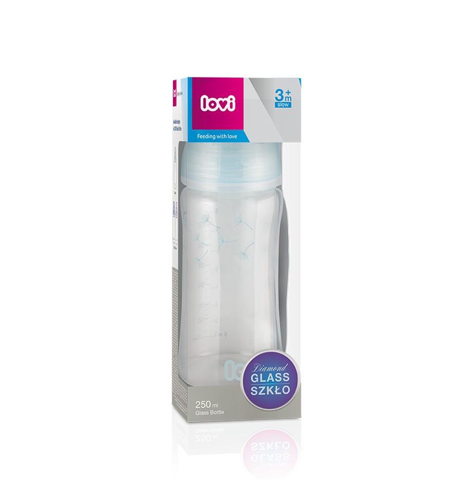 Lovi Dojčenská fľaša sklo Diamond Glass 250ml 3m+ Botanic