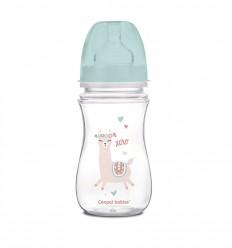 Canpol babies Dojčenská antikoliková fľaša široká EasyStart 240 ml 3m+ Exotic Animals zelená