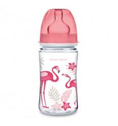 Canpol babies dojčenská antikoliková fľaša široká EasyStart 240 ml 3m+ Džungľa coralová