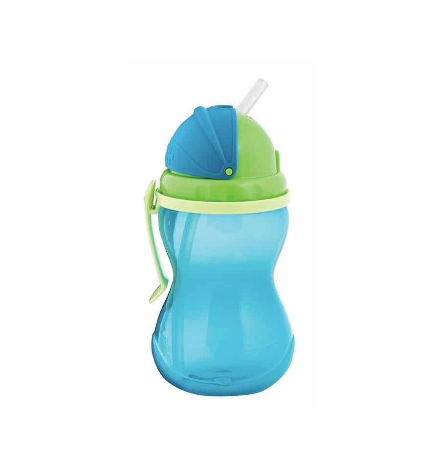 Canpol babies Športová fľaša so slamkou 270 ml 12m+ modrá