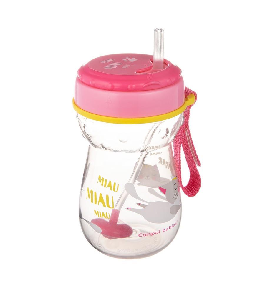 Canpol babies Športová fľaša so slamkou 350 ml 12m+ Flip-Top ružová