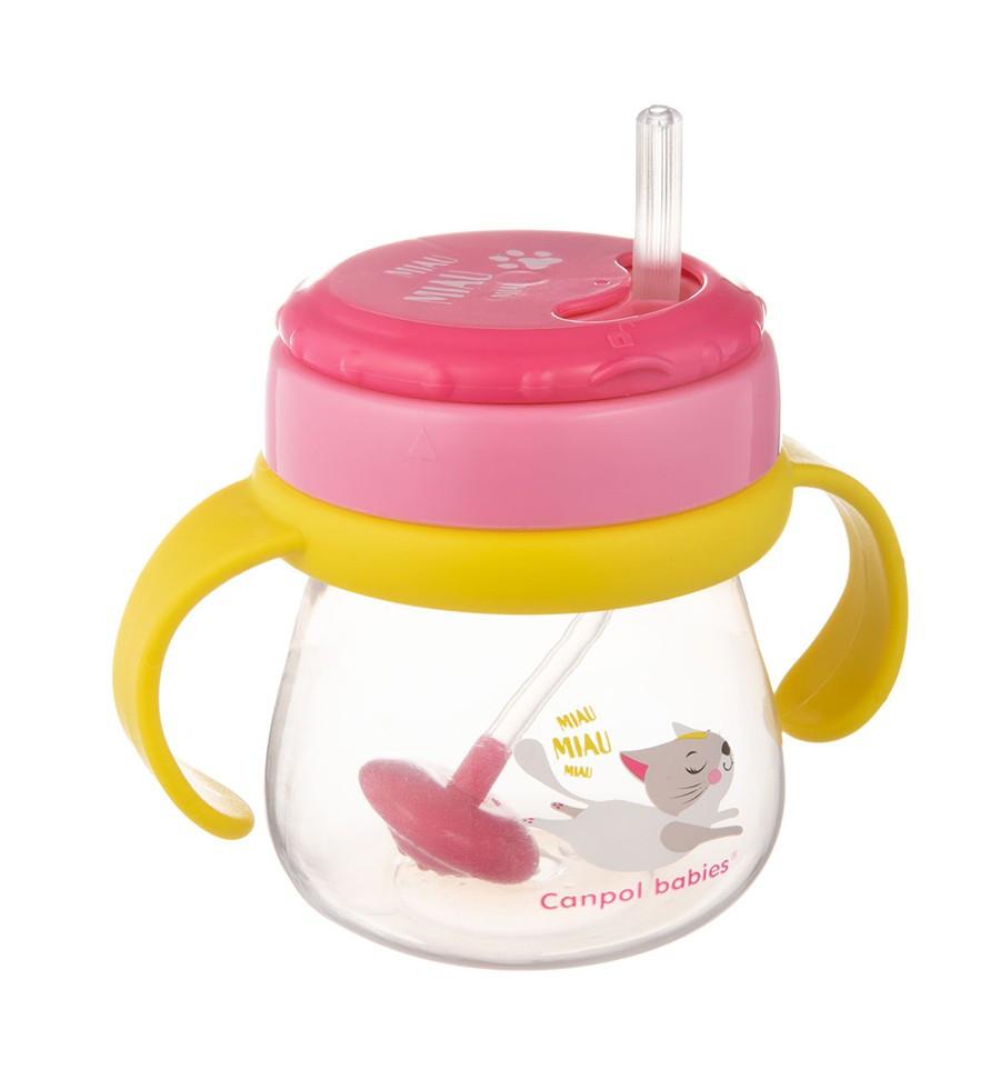 Canpol babies Hrnček so slamkou 250 ml 9m+ Flip-Top ružový