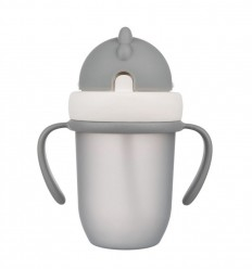 Canpol babies Hrnček so silikónovou slamkou 210 ml 9m+ Flip-Top matná sivá