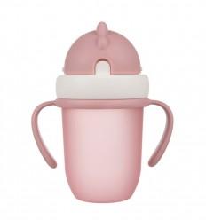 Canpol babies Hrnček so silikónovou slamkou 210 ml 9m+ Flip-Top matná ružová