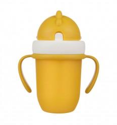 Canpol babies Hrnček so silikónovou slamkou 210 ml 9m+ Flip-Top matná žltá