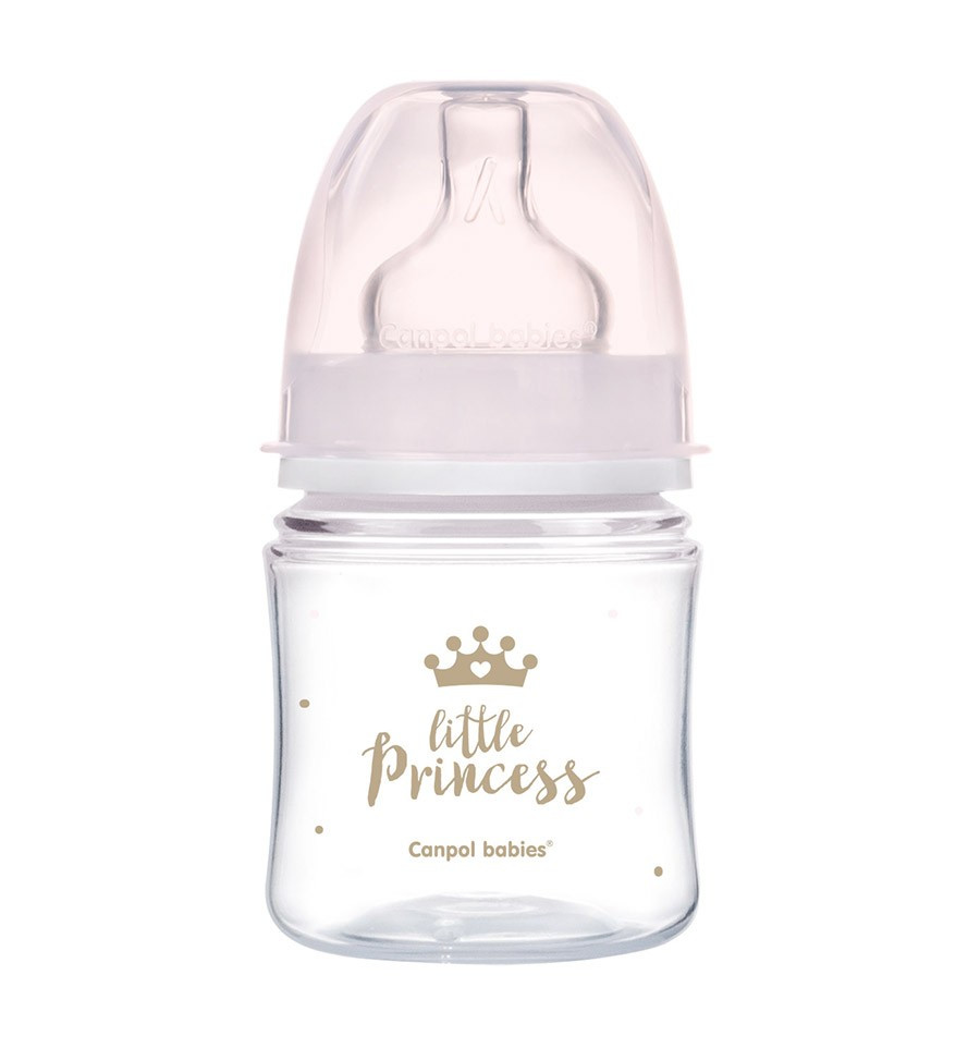 Canpol babies Dojčenská antikoliková fľaša široká EasyStart 120 ml 0m+ Royal baby ružová