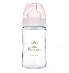 Canpol babies Dojčenská antikoliková fľaša široká EasyStart 240 ml 3m+ Royal Baby ružová