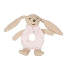 Canpol babies Plyšová hrkálka Zajačik ružový