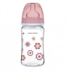 Canpol babies Dojčenská antikoliková fľaša široká EasyStart 240 ml Newborn ružová