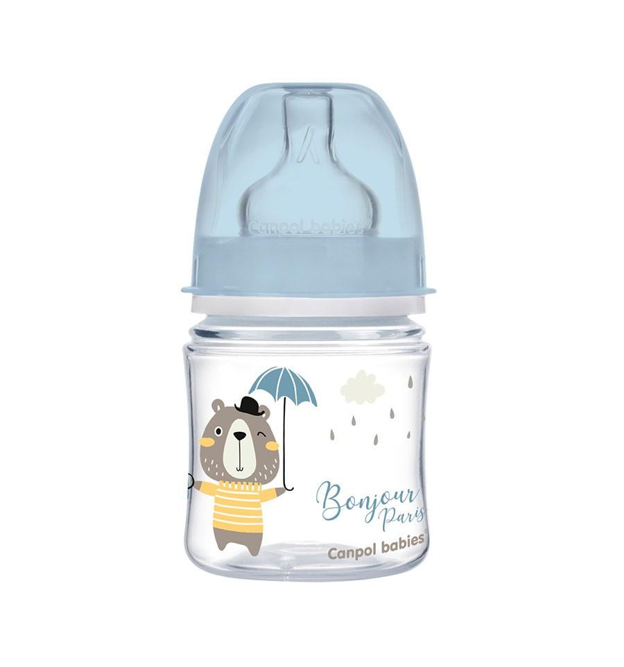 Canpol babies Dojčenská antikoliková fľaša široká EasyStart 120 ml 0m+ Bonjour Paris modrá