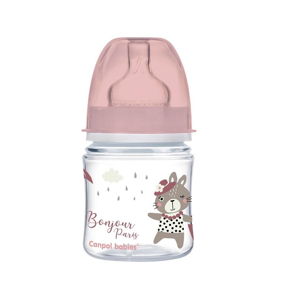 Canpol babies Dojčenská antikoliková fľaša široká EasyStart 120 ml 0m+ Bonjour Paris ružová