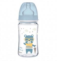 Canpol babies Dojčenská antikoliková fľaša široká EasyStart 240 ml 3m+ Bonjour Paris modrá