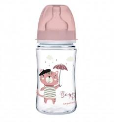 Canpol babies Dojčenská antikoliková fľaša široká EasyStart 240 ml 3m+ Bonjour Paris ružová