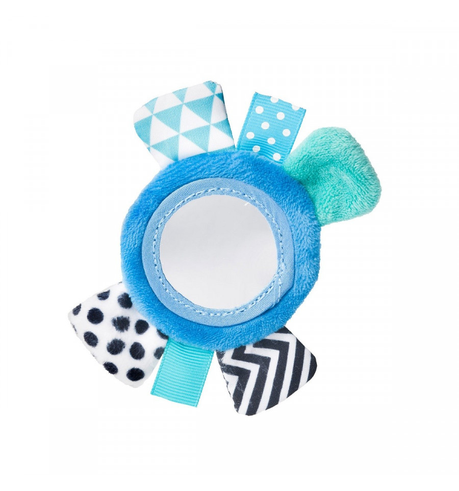 Plyšová hračka so zrkadielkom 0m+ Zig Zag modrá
