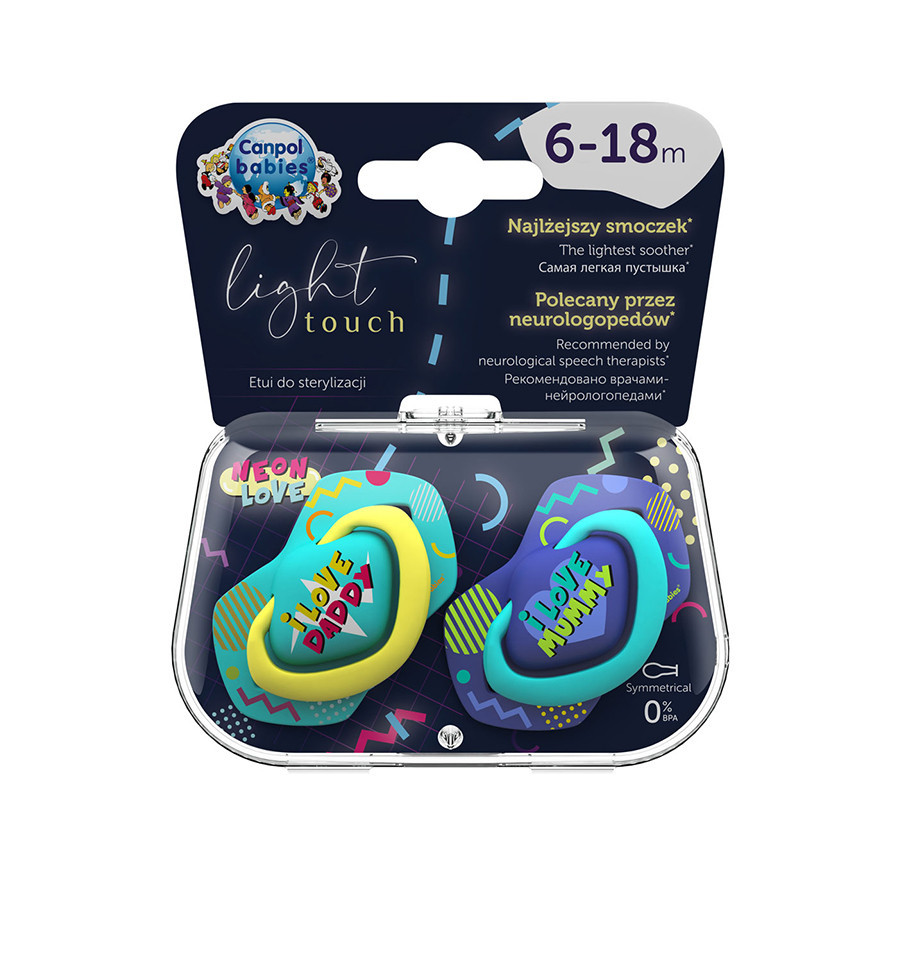 Canpol babies Cumlíky utišujúce silikón symetrické 2 ks NEON LOVE B 6-18m modré