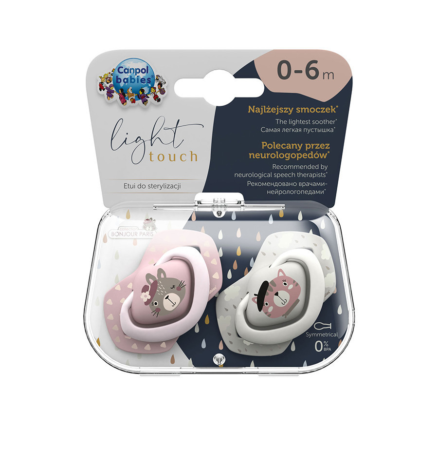 Canpol babies Cumlíky utišujúce silikón symetrické 2 ks Bonjour Paris  A 0-6m ružové