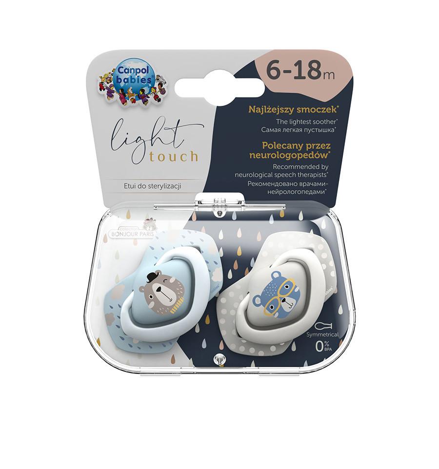 Canpol babies Cumlíky utišujúce silikón symetrické 2 ks Bonjour Paris  B 6-18m modré