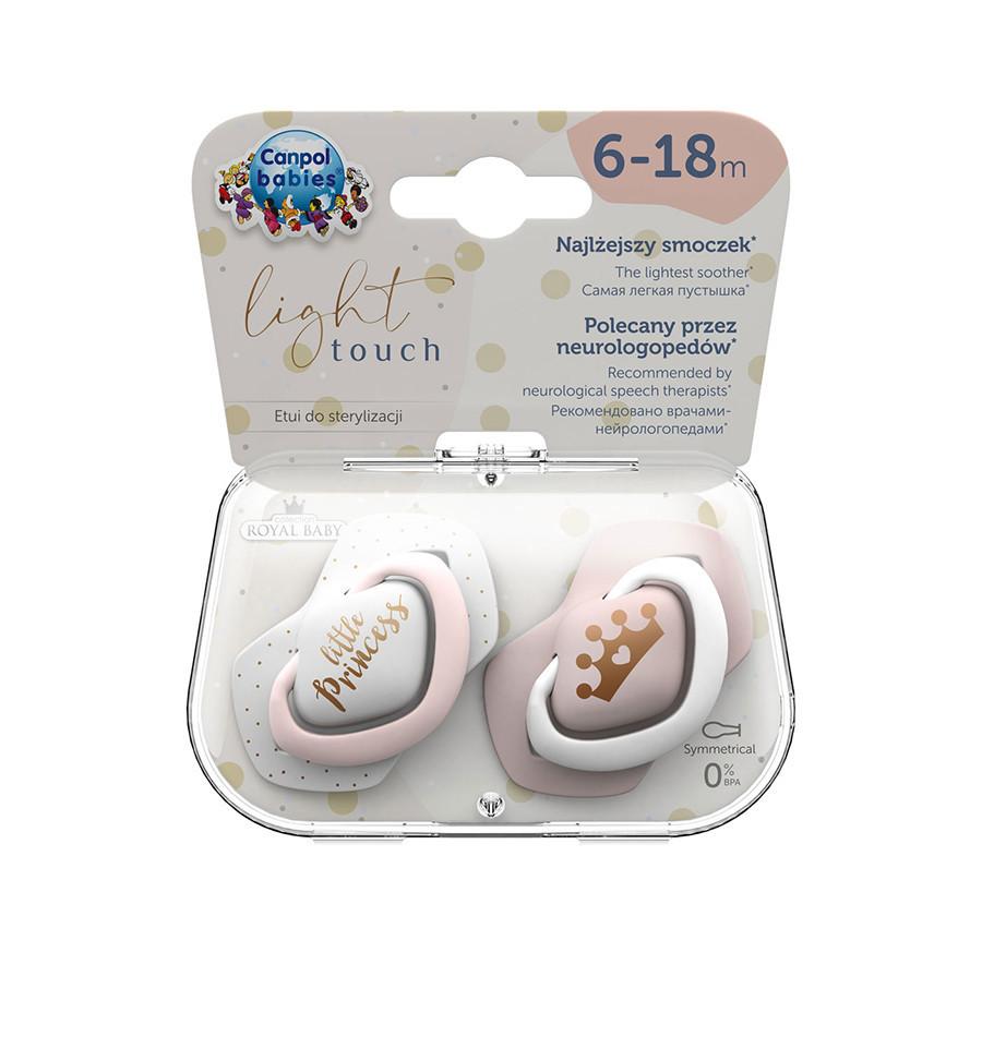 Canpol babies Cumlíky utišujúce silikón symetrické 2 ks Royal Baby B 6-18m ružové