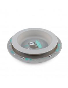 Canpol babies Obedová súprava Exotic Animals 4m+ tanier a miska sivá