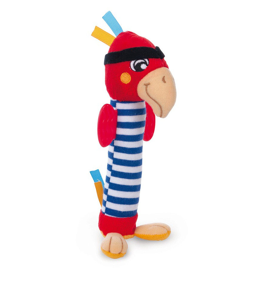 Plyšová hračka s hryzačkou - Piráti Papagáj